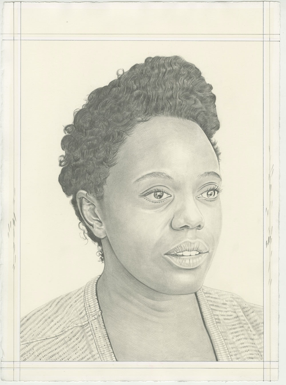 Portrait of Leslie Hewitt, pencil on paper by Phong H. Bui.