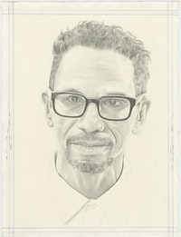 Portrait of Ralph Lemon, pencil on paper by Phong H. Bui.