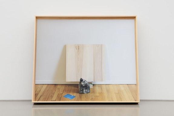 Leslie Hewitt, <em>Untitled (Double Entendre)</em>, 2019. Digital chromogenic print in custom elm frame, 52 3/8 x 62 3/16 x 7 1/16 inches. Courtesy the artist and Perrotin. Photo: Guillaume Ziccarelli.