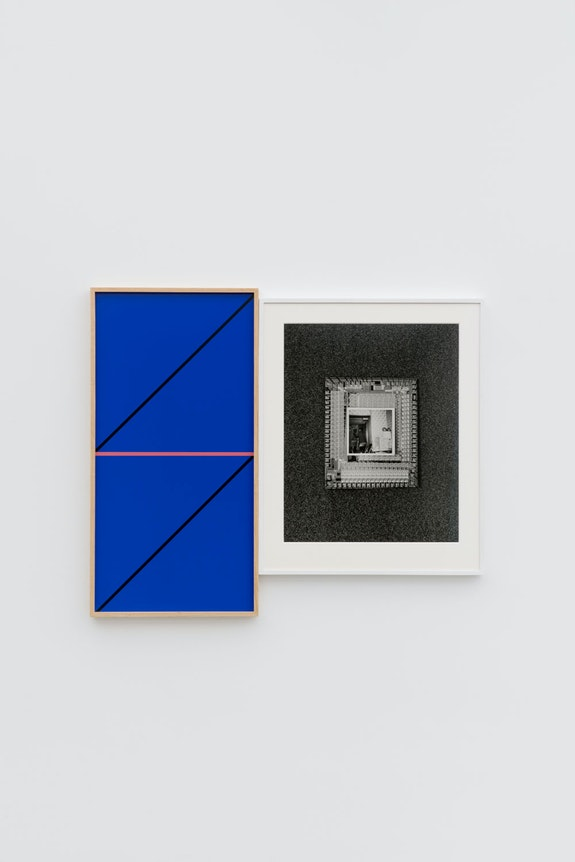 Leslie Hewitt, <em>Riffs on Real Time with Ground (Mirror Blue with Black Diagonal and Horizon Daybreak)</em>, 2018. Digital chromogenic print, silver gelatin print, 45 x 54 inches. Courtesy the artist and Perrotin. Photo: Guillaume Ziccarelli.