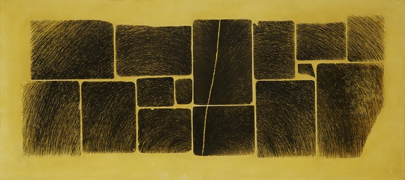 Wally Hedrick, <em>Napalm Sundae</em>, 1965. Lithography on canvas, polyurethane, 43 1/2 × 93 1/2 inches. BAMPFA, purchase made possible by the Friends and Trustees Acquisition Endowment Fund, the Boyce Family Endowment Fund, a bequest of Phoebe Apperson Hearst, by exchange, the Schlesinger-Spiegel Fund, and a partial gift of Charles Linder.
