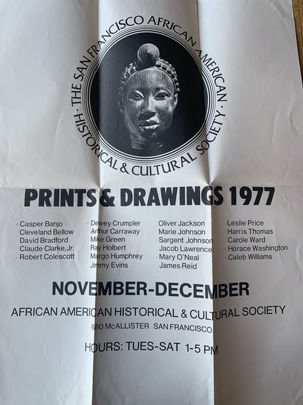Poster for a 1977 prints and drawings exhibition sponsored by the San Francisco African American Historical and Cultural Society. Courtesy SFAI.
