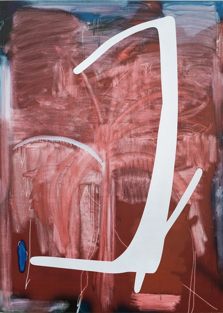 Jeff Elrod, <em>Melville</em>, 2020. Inkjet ink, acrylic, and oil stick on linen, 81 1/2 x 58 inches. © Jeff Elrod; Courtesy the artist and Luhring Augustine, New York.