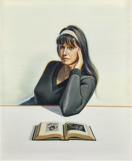 Wayne Thiebaud, <em>Betty Jean Thiebaud and Book</em>, 1965–1969. Oil on canvas, 36 x 30 in. Crocker Art Museum, gift of Mr. and Mrs. Wayne Thiebaud, 1969.21. © 2020 Wayne Thiebaud / Licensed by VAGA at Artists Rights Society (ARS), NY.