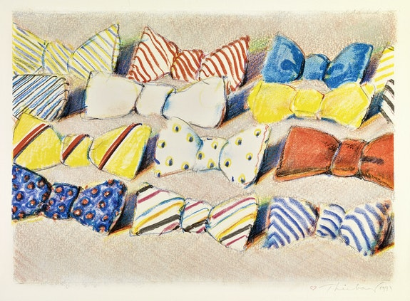 Wayne Thiebaud, <em>Bow Ties</em>, 1993. Color lithograph hand-worked with pastel, 9 7/8 x 13 5/8 in. (image), 15 x19 7/8 in. (sheet). Crocker Art Museum, gift of the Artist's family, 1995.9.38. © 2020 Wayne Thiebaud / Licensed by VAGA at Artists Rights Society (ARS), NY.