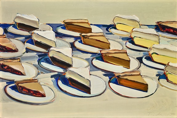 Wayne Thiebaud, <em>Pies, Pies, Pies</em>, 1961. Oil on canvas, 20 x 30 in. Crocker Art Museum, gift of Philip L. Ehlert in memory of Dorothy Evelyn Ehlert, 1974.12. © 2020 Wayne Thiebaud / Licensed by VAGA at Artists Rights Society (ARS), NY.