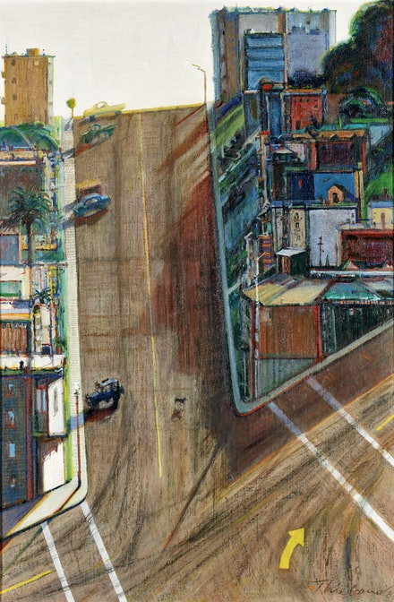 Wayne Thiebaud, <em>Street and Shadow</em>, 1982–1983/1996. Oil on linen, 35 3/4 x 23 3/4 in. Crocker Art Museum, gift of the Artist's family, 1996.3. © 2020 Wayne Thiebaud / Licensed by VAGA at Artists Rights Society (ARS), NY.
