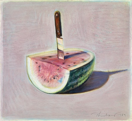 Wayne Thiebaud, <em>Watermelon and Knife</em>, 1989. Pastel on paper, 8 5/8 x 9 7/16 in. Crocker Art Museum, gift of the Artist's family, 1995.9.30. © 2020 Wayne Thiebaud / Licensed by VAGA at Artists Rights Society (ARS), NY.