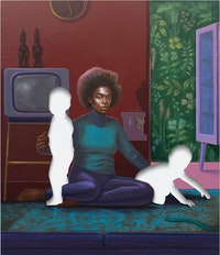 Titus Kaphar, <em>Twins</em>, 2020. Oil on canvas, 83 3/4 x 68 inches. © Titus Kaphar. Courtesy the artist and Gagosian. Photo: Alexander Harding.