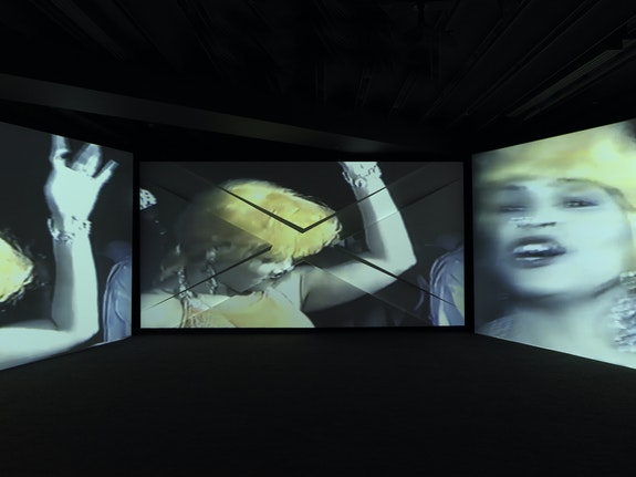 Akeem Smith, <em>Social Cohesiveness</em>, 2020. Three-channel video installation, score by AshlandMines. Courtesy the artist and Red Bull Arts. Photo: Dario Lasagni.