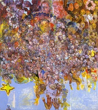 "Judy Glantzman, ""UNTITLED (Stars of Wisdom)"" (2004). Oil on canvas, 90 x 80 inches. Courtesy of Betty Cuningham Gallery."