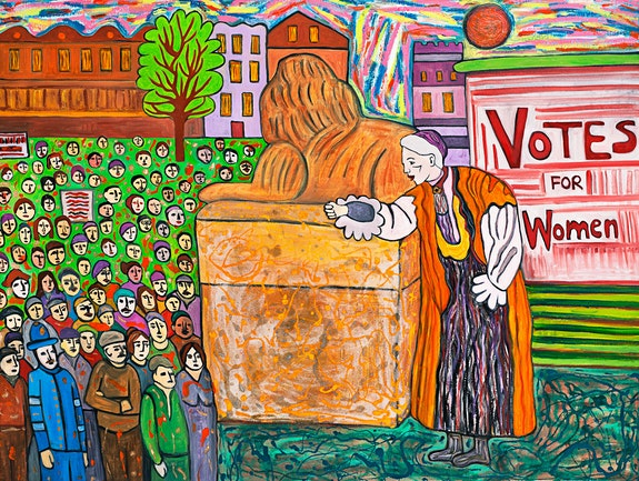 Susan Bee, <em>Votes for Women</em>, 2018. Oil, enamel, sand on linen, 30 x 40 inches. Courtesy the artist.