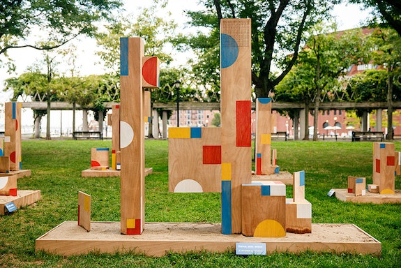 Installation view: <em>Sari Carel: The Shape of Play</em>, Waterfront Park, Boston, 2020. Courtesy Now + There. Photo: Nir Landau.