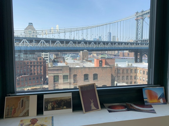 View from Mira Schor's Sharpe Walentas studio, 2020.