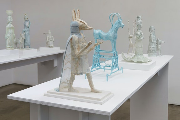 Installation view: <em>Shari Mendelson: Animals, Idols, and Us</em>, TIbor de Nagy, New York, 2020. Courtesy Tibor de Nagy.
