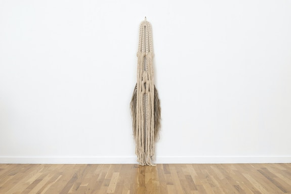Tanya Aguiñiga, <em>Extraño 1</em>, 2020. Cotton, flax, 82 x 19 x 5 inches. Courtesy Volume Gallery.</em>