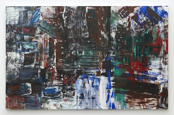 Louise Fishman, <em>Dugout</em>, 2020. Oil on linen, 70 × 110 inches. Courtesy of the artist and Karma, New York.