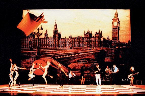 Michael Clark & Company with The Fall in <em>I Am Curious, Orange</em>, 1988, Sadler's Wells Theatre, London. © Richard Haughton.