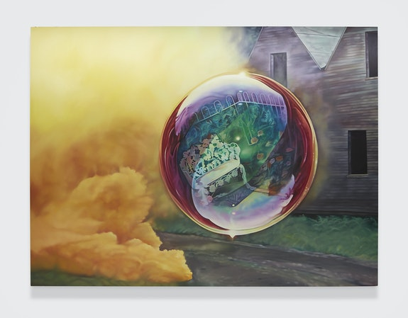 Ariana Papademetropoulos, <em>Espulsione dalla discoteca</em>, 2020. Oil on canvas, 90 x 120 inches. © Ariana Papademetropoulos; Courtesy the artist and Vito Schnabel Gallery.