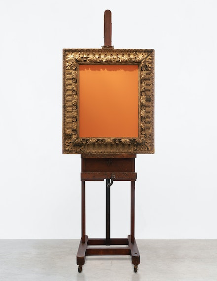 Michelangelo Pistoletto, <em>Viceversa, </em>1971. Mirror, gilded wood frame, and wood easel, 98 7/16 x 35 5/8 x 19 11/16 inches. © Michelangelo Pistoletto. Courtesy the artist, Lévy Gorvy, and Galleria Continua. Photo: Alessandro Scipion.