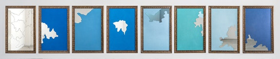 Michelangelo Pistoletto, <em>Color and Light</em>, 2016. Jute, mirrors, and gilded wood frames; eight parts, each: 70 7/8 x 47 1/4 inches. © Michelangelo Pistoletto. Courtesy the artist, Lévy Gorvy, and Galleria Continua.