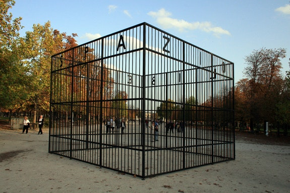 Michelangelo Pistoletto, <em>The Free Space, </em>conceived 1976 / fabricated 2020. Steel, 110 1/4 x 141 3/4 x 141 3/4 inches. © Michelangelo Pistoletto. Courtesy the artist, Lévy Gorvy, and Galleria Continua. Photo: Anabel Paris & Jérôme Taub.