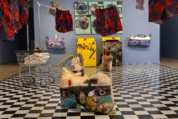 Installation view: <em>Jonathan Lyndon Chase: Big Wash, </em>in collaboration with The Fabric Workshop and Museum, Philadelphia, 2020. Photo: Carlos Avendaño.