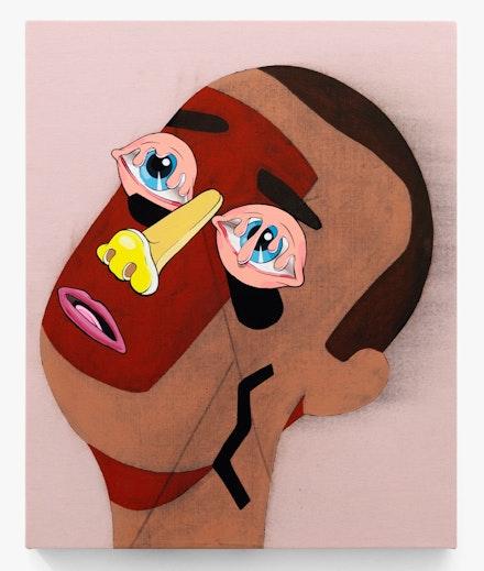Mark Mulroney, Untitled, 2020. Acrylic on Fabric, 21 1/2 x 17 1/2 inches. Courtesy Mrs. Gallery.</p>