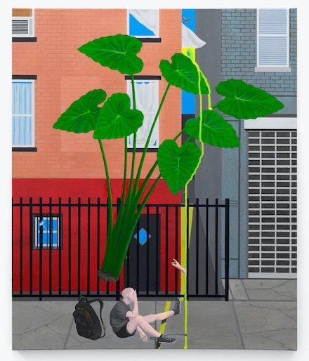 Soyeon Shin, <em>Atlantic Avenue</em>, 2020. Acrylic on Canvas, 24 x 20 inches. Courtesy Mrs. Gallery.