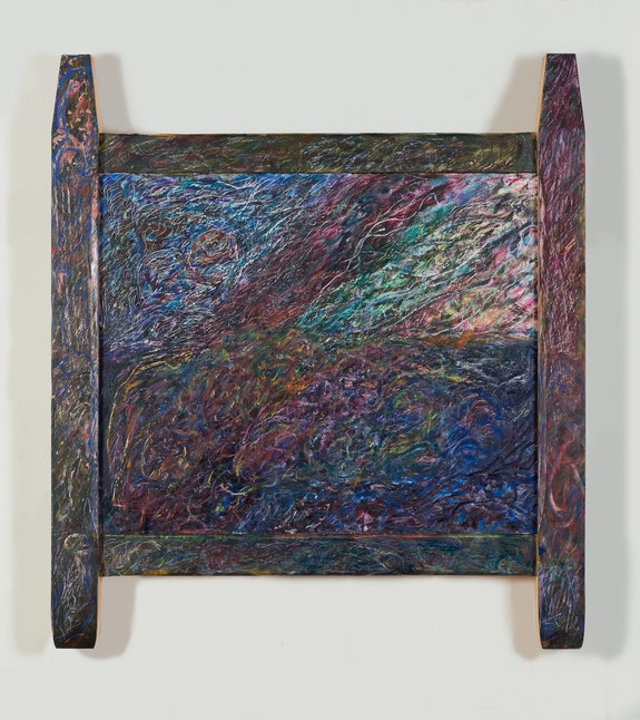 Joseph Holtzman, <em>Untitled</em>, 2019. Oil on marble in artist's frame. 24 x 29 inches, framed: 39 1/2 x 35 1/2 x 4 inches. All images are Courtesy of the artist and Parker Gallery. Photos by Daniel Terna.