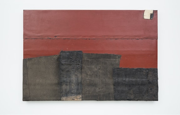 Theaster Gates, <em>Red City</em>, 2020. Industrial oil-based enamel, rubber torch down, bitumen, wood, and copper, 72 x 108 inches. © Theaster Gates. Photo: Jacob Hand. Courtesy Gagosian.