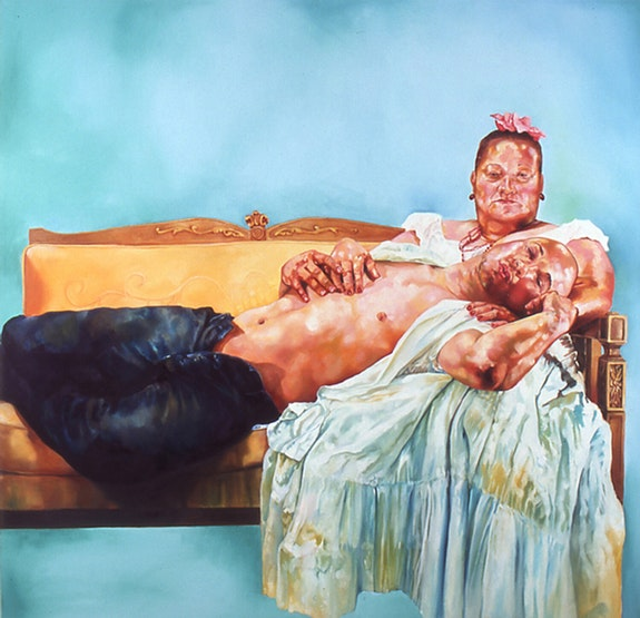 David Antonio Cruz, <em>Puerto Rican Pieta</em>, 2006, Oil on canvas, 70 x 70 in., Collection of El Museo del Barrio, NY