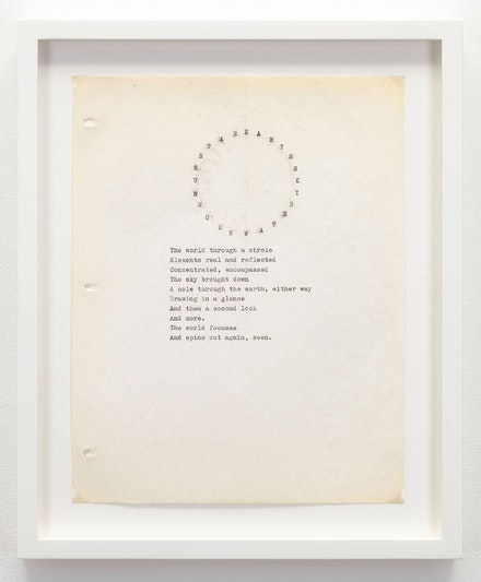 Nancy Holt, <em>The World Through a Circle</em> (ca. 1970). Typewriter ink on paper. 11 x 8 1/2 in. (27.9 x 21.6 cm) © Holt/Smithson Foundation, Licensed by VAGA at ARS, New York