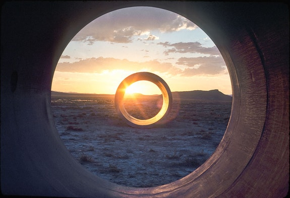 Nancy Holt, <em>Sun Tunnels </em>(1973-76). Great Basin Desert, Utah. Concrete, steel, earth. Overall dimensions: 9 ft. 2-1/2 in. x 86 ft. x 53 ft. (2.8 x 26.2 x 16.2 m); length on the diagonal: 86 ft. (26.2 m). Photograph: Nancy Holt. Collection Dia Art Foundation with support from Holt/Smithson Foundation. © Holt/Smithson Foundation and Dia Art Foundation, licensed by VAGA at ARS, New York.