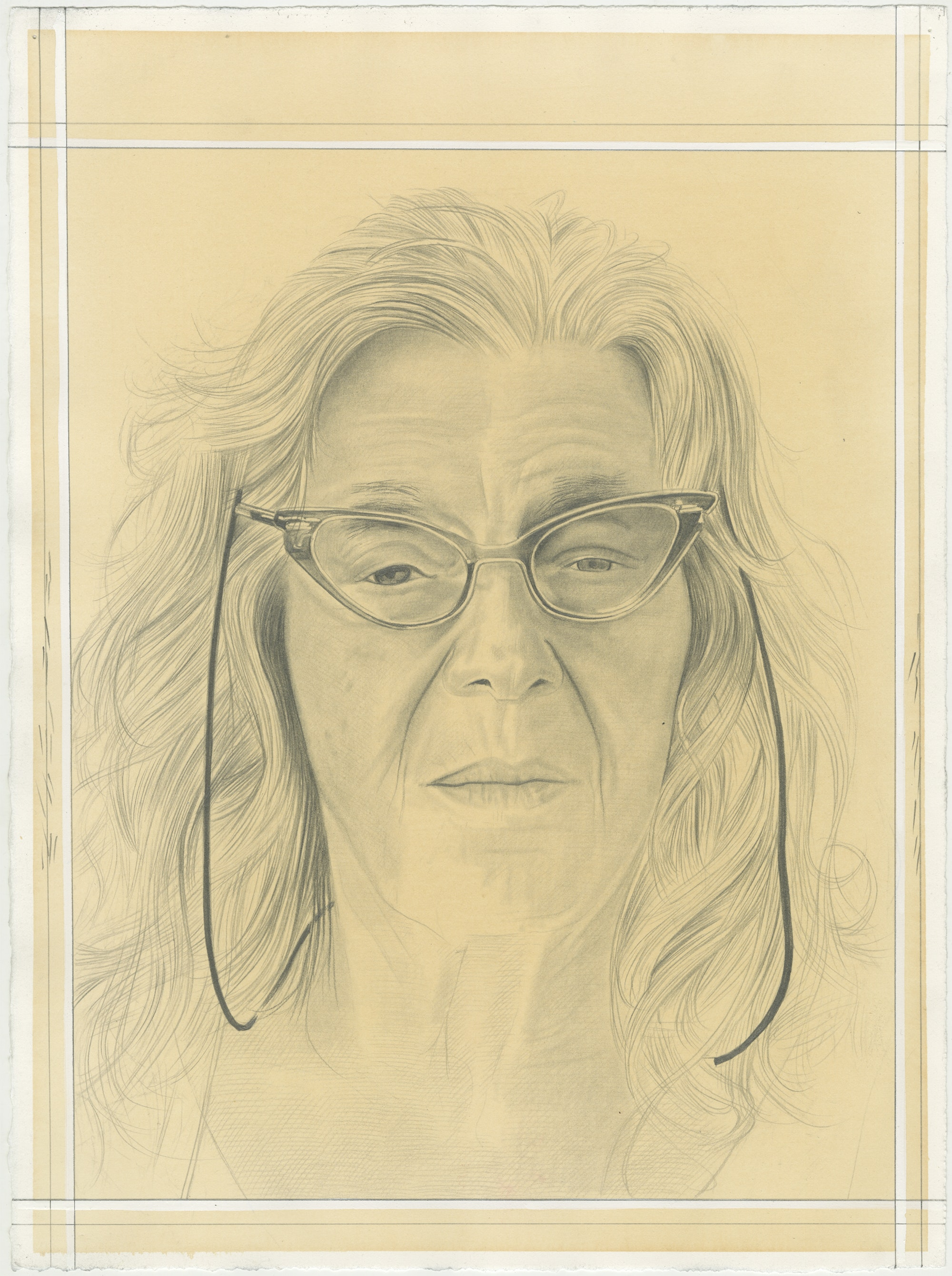 Portrait of Jo Baer, pencil on paper by Phong H. Bui.