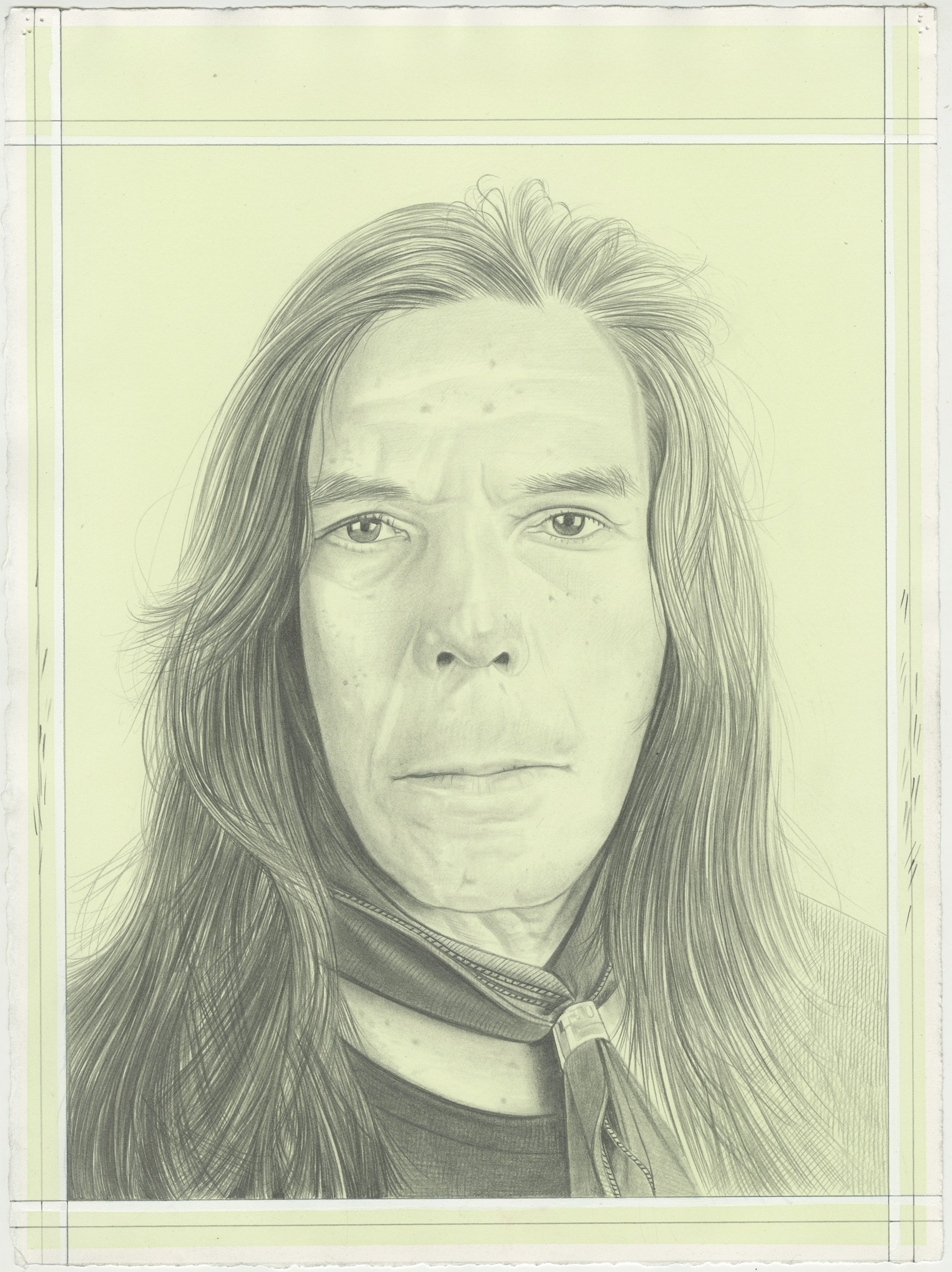 Portrait of Brad Kahlhamer, pencil on paper by Phong H. Bui.