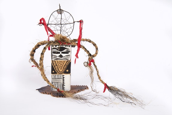 Brad Kahlhamer, <em>Next Level Figure</em>, 2012-18. Wood, rope, paint, wire, 14 x 10 x 2 inches. Courtesy the artist.