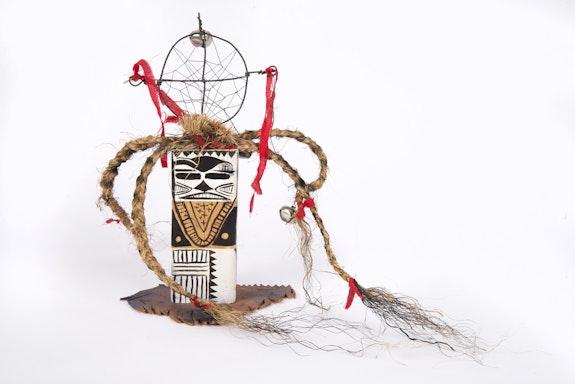 Brad Kahlhamer, <em>Next Level Figure</em>, 2012-18. Wood, rope, paint, wire, 14 x 10 x 2 inches. Courtesy the artist.