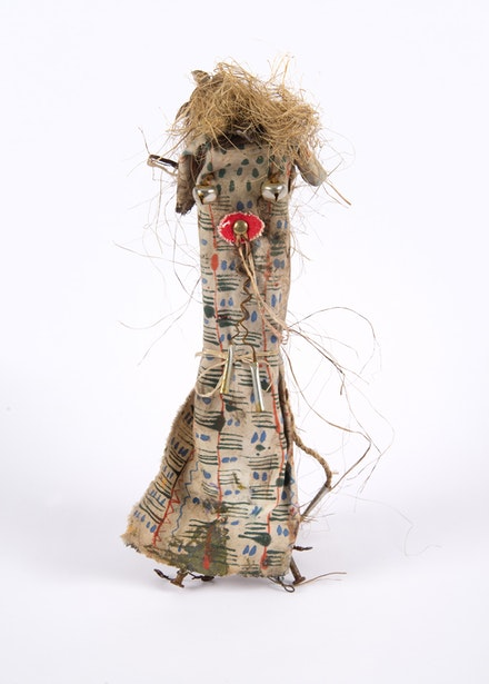 Brad Kahlhamer, <em>Next Level Figure</em>, 2012-18. Wood nails, cloth wire paint, 14 x 2 x 2 inches. Courtesy the artist.