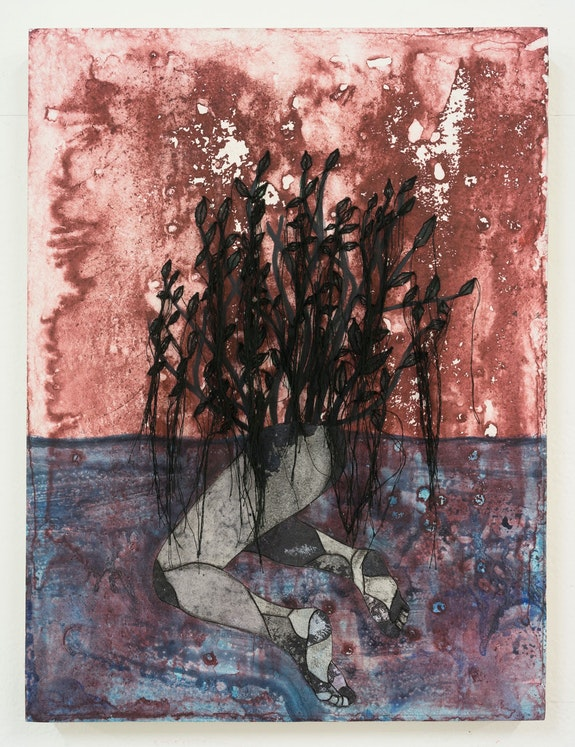 Felipe Baeza, <em>Tu, que brotas en la noche,</em> 2018. Ink, watercolor, cut paper, egg tempera, and embroidery on panel. 12 x 9 in© Felipe Baeza, courtesy Maureen Paley, London / Hove.