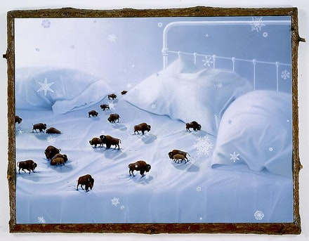 Frank Moore,<em> Lullaby,</em> 1997. Oil on canvas on featherboard with red pine frame, 50 x 65 inches. Courtesy the artist.