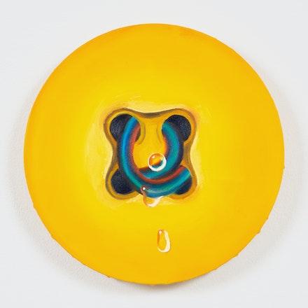 Astrid Kajsa Nylander,<em> yellow minijob #4,</em> 2019. Oil on canvas, 8 x 8 inches. Courtesy the artist and PAGE (NYC).