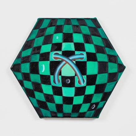 Astrid Kajsa Nylander,<em> chequered minijob #2, </em>2020. Oil on linen, 10.25 x 11.75 inches<em>. </em>Courtesy the artist and PAGE (NYC).