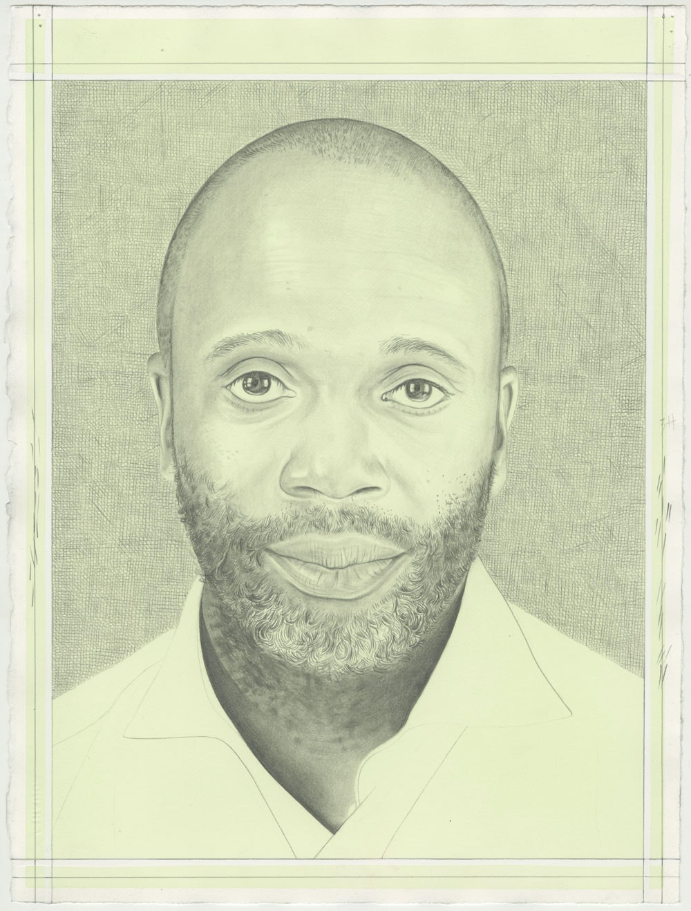 Portrait of Theaster Gates, pencil on paper by Phong Bui.