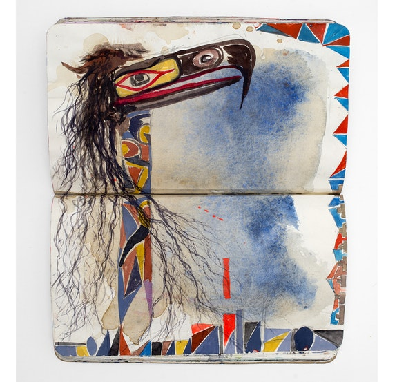 Brad Kahlhamer, <em>Nomadic Studio</em>, 1990–20. Paper, mixed media, 8 1/4 x 10 inches. Courtesy the artist.