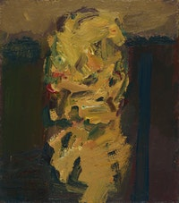 Frank Auerbach, <em>Portrait of Julia</em>, 2009-10. Acrylic on board,19 3/4 x 17 3/8 inches. © Frank Auerbach; Courtesy Marlborough Fine Art, London and Luhring Augustine, New York.