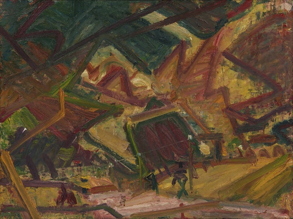 Frank Auerbach, <em>Primrose Hill</em>, 1978. Oil on board, 45 x 60 inches. Private Collection. Private Collection. © Frank Auerbach; Courtesy Marlborough Fine Art, London and Luhring Augustine, New York.