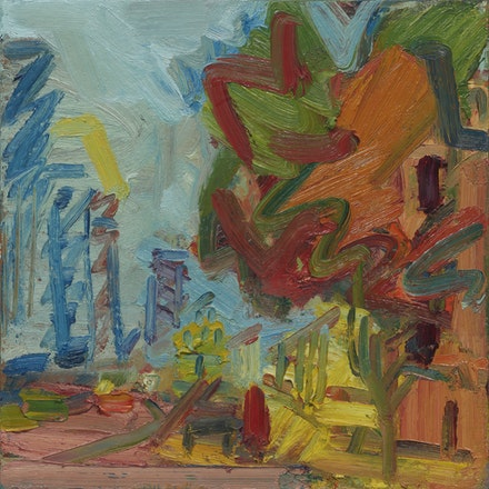 Frank Auerbach, <em>Another Tree in Mornington Crescent II</em>, 2007. Oil on board, 20 x 20 inches. Private Collection. © Frank Auerbach; Courtesy Marlborough Fine Art, London and Luhring Augustine, New York.