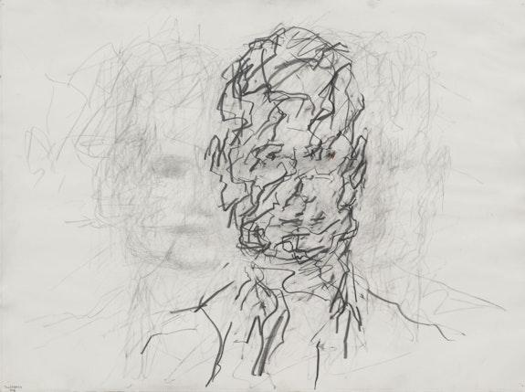 Frank Auerbach, <em>Head of David Landau</em>, 2006. Pencil and graphite on paper, 22 1/2 x 30 1/4 inches. Private collection, Devon. © Frank Auerbach; Courtesy Marlborough Fine Art, London and Luhring Augustine, New York.