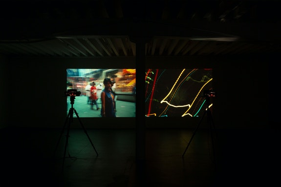 Installation view: <em>Yuji Agematsu, Times Square Times (Kodak All-Stars)</em>, Miguel Abreu Gallery, New York, 2020. Courtesy the artist and Miguel Abreu Gallery, New York. Photo: Stephen Faught.</p>